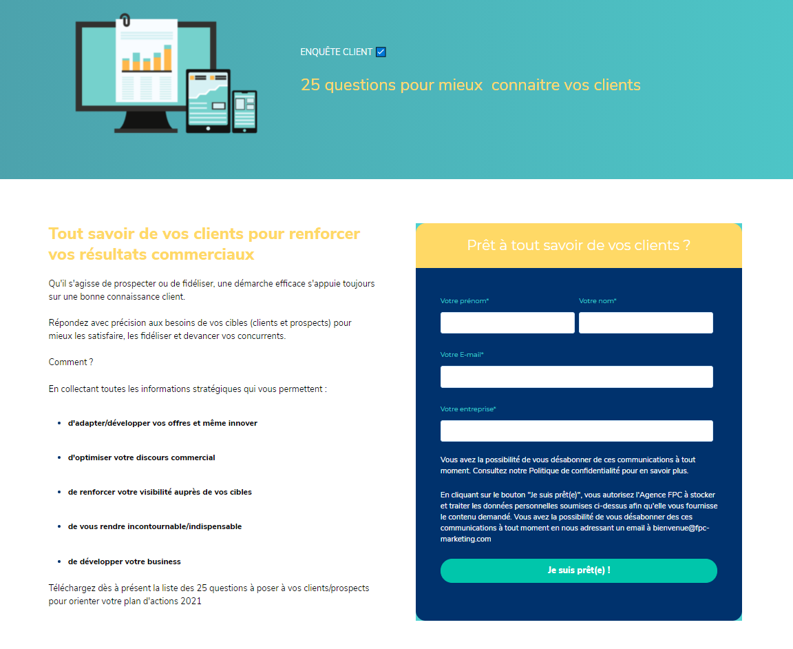 exemple de landing page - Agence FPC